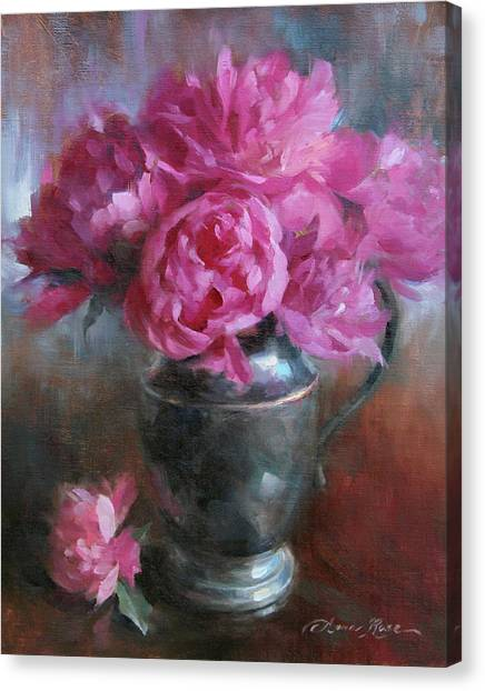 Peony Canvas Print - June Bouquet by Anna Rose Bain