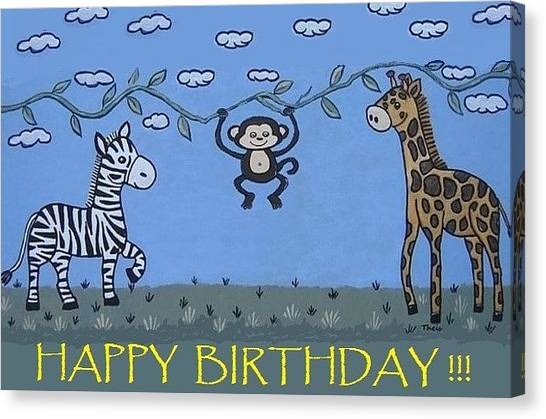 Jungle Animals Happy Birthday Canvas Print