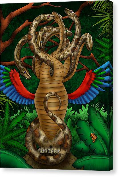 Burmese Pythons Canvas Print - Jungle Hydra by Anastasia Bisel