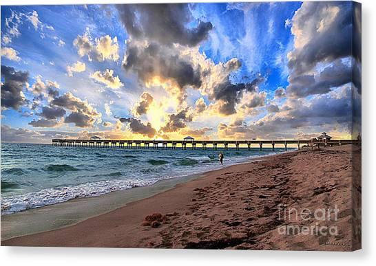 Juno Beach Pier Florida Sunrise Seascape D7 Canvas Print