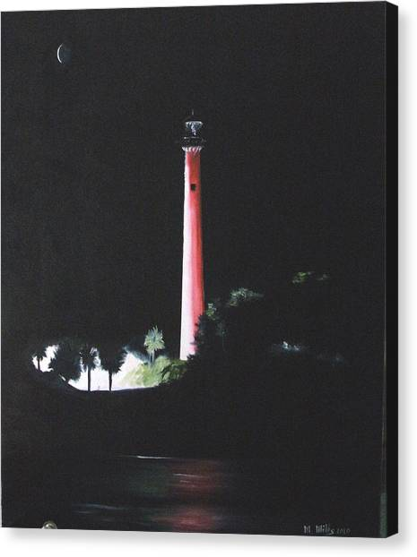 Jupiter Lighthouse At Night Canvas Print