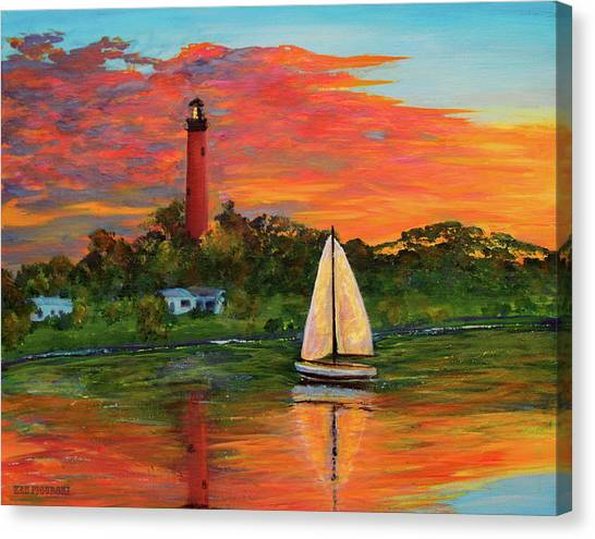 Jupiter Lighthouse Sunrise Alt Canvas Print