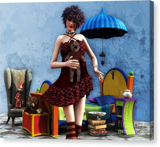 Sweet Tea Canvas Print - Just A Doll by Jutta Maria Pusl