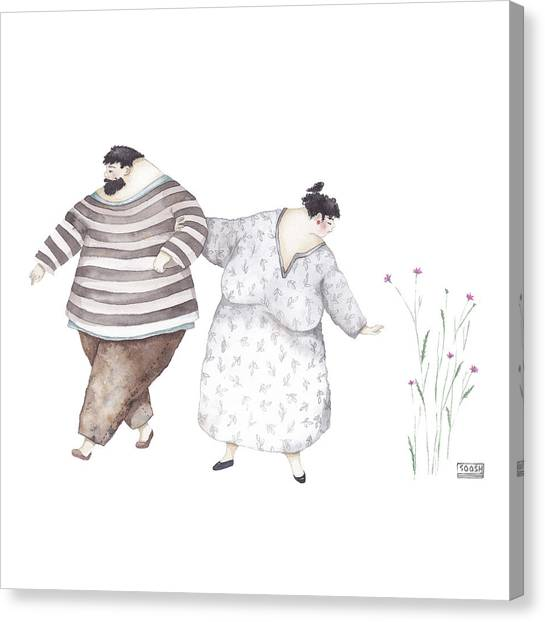 Lovers Drawing Canvas Print - Just A Second by Soosh