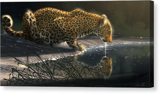 African Canvas Print - Just A Sip by Aaron Blaise
