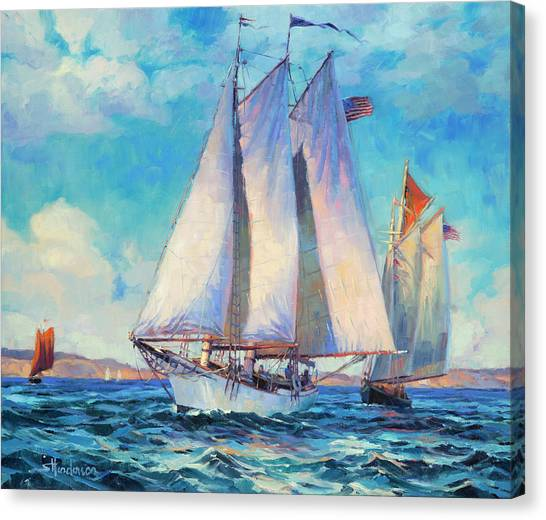 Sailboats Canvas Print - Just Breezin' by Steve Henderson