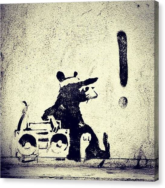 Graffiti Canvas Print - Just Chilling With A Few Tunes #stencil by A Rey