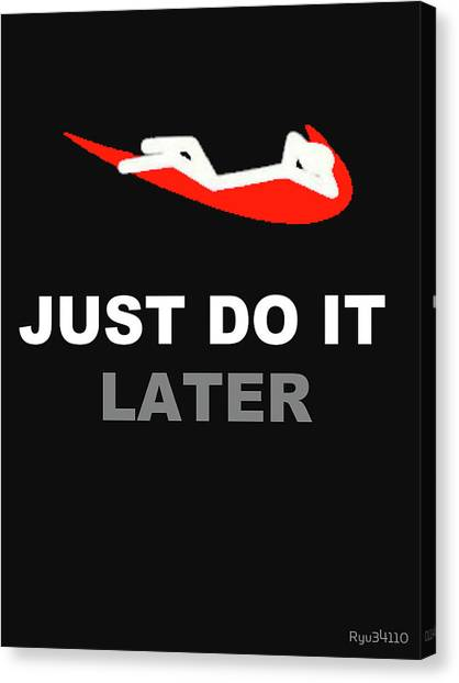 Minecraft Canvas Print - Just Do It Later Nike by Wardah Zepthiahindi