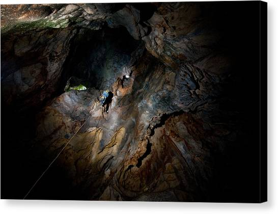 Caves Canvas Print - Just Follow The Rope... by Kikroune (christian R.)