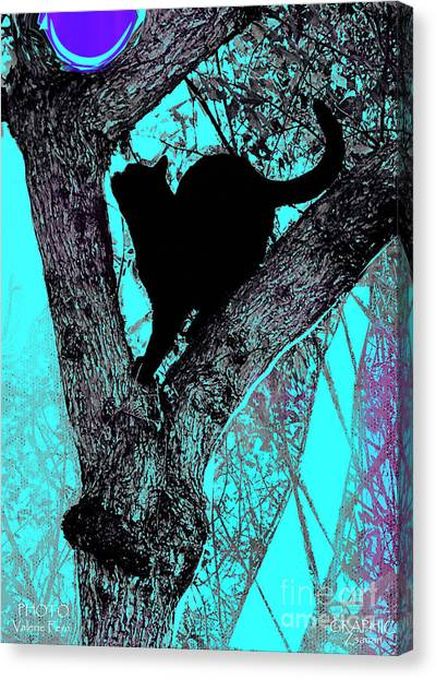 Fauve Cat And Moon Canvas Print