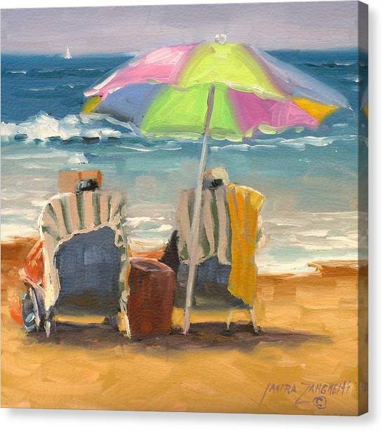 People On Beach Canvas Print - Just Leave A Message Jr by Laura Lee Zanghetti