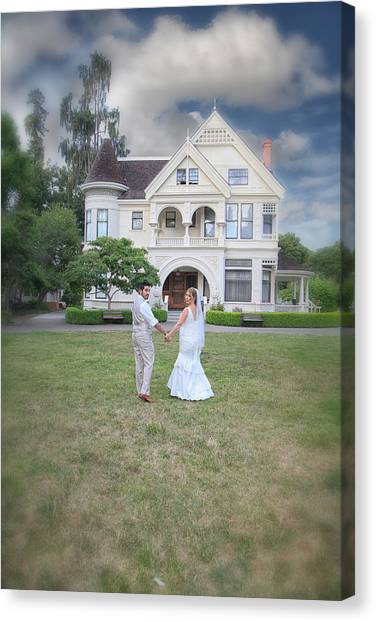 Wedding Gown Canvas Print - Just The Beginning by Laurie Search
