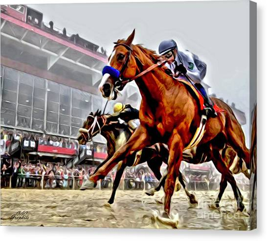 Justify Wins Preakness Canvas Print