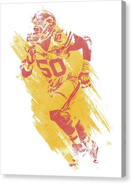 Kansas City Chiefs Canvas Print - Justin Houston Kansas City Chiefs Water Color Art 1 by Joe Hamilton