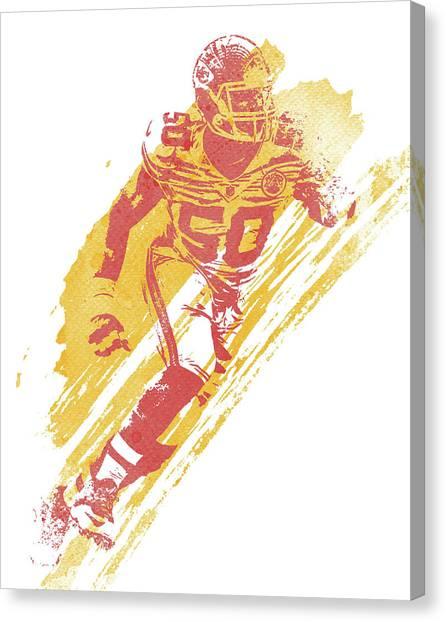 Kansas City Chiefs Canvas Print - Justin Houston Kansas City Chiefs Water Color Art 2 by Joe Hamilton