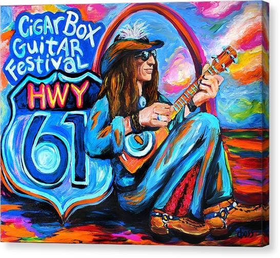 Slide Guitars Canvas Print - Justin Johnson Hwy 61 Cigar Box Guitar Festival by Carol Boss