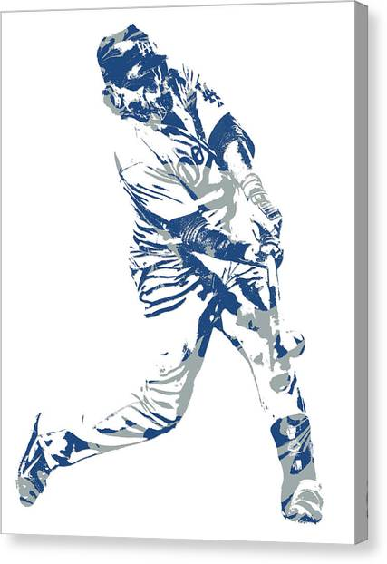 Los Angeles Dodgers Canvas Print - Justin Turner Los Angeles Dodgers Pixel Art 10 by Joe Hamilton