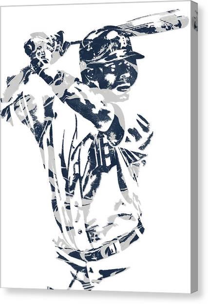 Detroit Tigers Canvas Print - Justin Upton Detroit Tigers Pixel Art 2 by Joe Hamilton