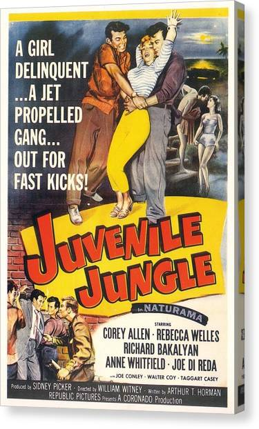 Canvas Print featuring the digital art Juvenile Jungle by Reinvintaged