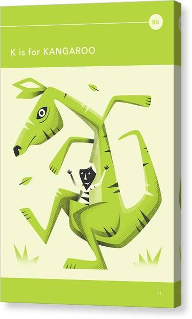 Kangaroo Canvas Print - K Is For Kangaroo by Jazzberry Blue