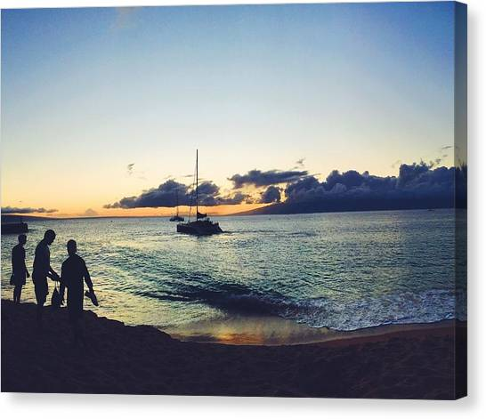 Catamarans Canvas Print - Kaanapali Sunset #1 by Stacia Weiss