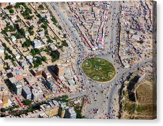 Kabul Traffic Circle Aerial Photo Canvas Print