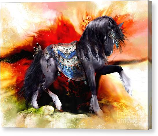 Big West Canvas Print - Kachina Hopi Spirit Horse  by Shanina Conway