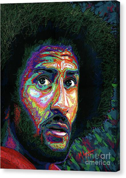 Take A Knee Canvas Print - Kaepernick by Maria Arango
