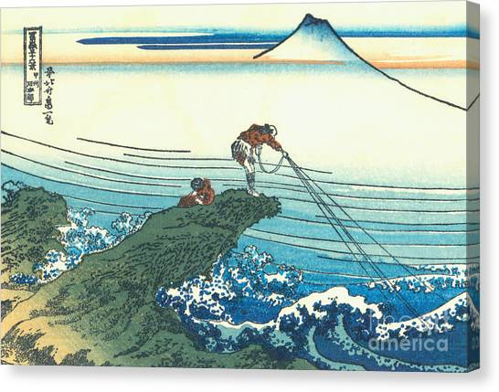 Rope Canvas Print - Kajikazawa In Kai Province by Hokusai