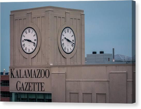 Kalamazoo Gazette Clock Tower Canvas Print