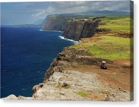 Kalaupapa Cliffs Canvas Print - Kalaupapa And Highest Sea Cliffs From North West Coast Of Moloka by Reimar Gaertner
