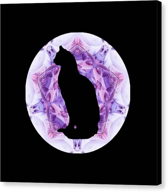 Kaleidoscope Cat Silhouette Canvas Print