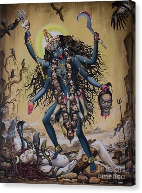 Tantra Canvas Print - Kali by Vrindavan Das
