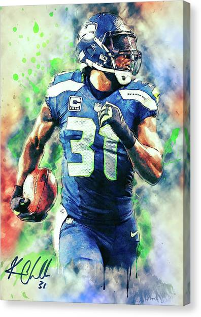 Seattle Seahawks Canvas Print - Kam Chancellor by Zapista