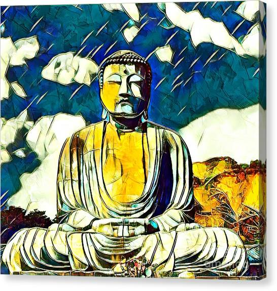 Canvas Print featuring the mixed media Kamakura Daibutsu by Lita Kelley