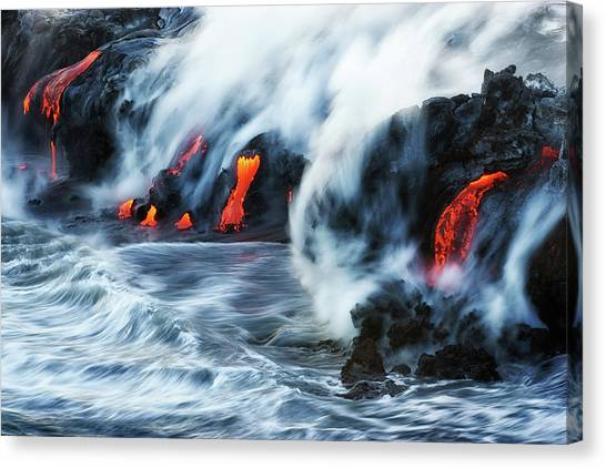 Black Sand Canvas Print - Kamokuna Lava Ocean Entry, 2016 by Christopher Johnson