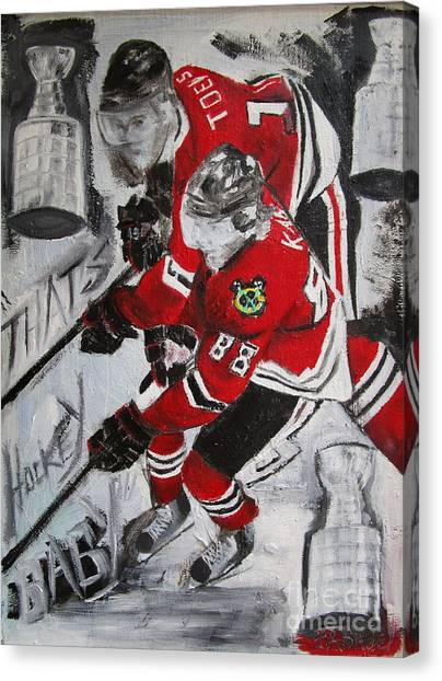Patrick Kane Canvas Print - Kane Toews 3 Cups by John Sabey Jr