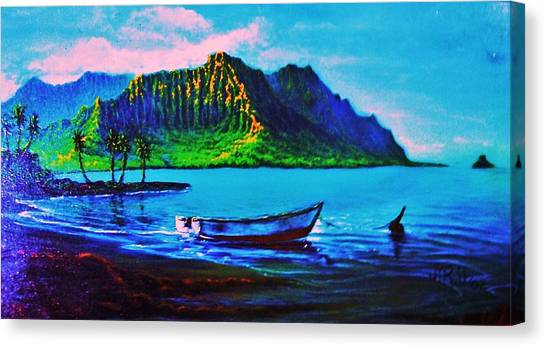 Kaneohe Bay Afternoon -with Skiff Canvas Print