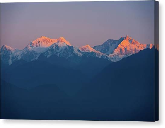 Kangchenjunga Canvas Print - Kangchenjunga Mountain Himalayas Sunrise Distant by Pius Lee