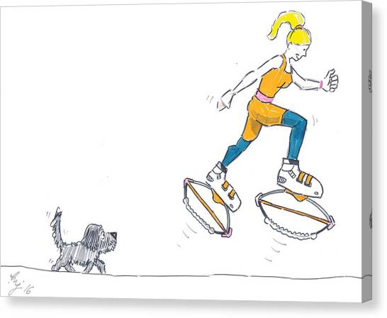 Kangoo Jumps Bouncy Shoes Walking The Dog Keep Fit Cartoon Canvas Print