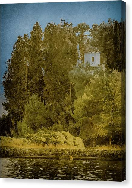 Canvas Print featuring the photograph Kanoni, Corfu, Greece - Protected by Mark Forte