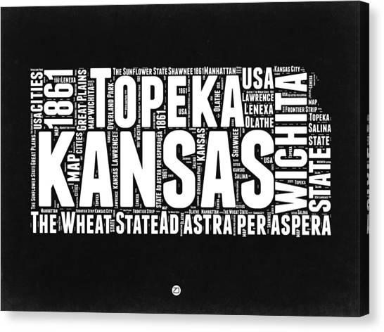 Kansas Canvas Print - Kansas Black And White Word Cloud Map by Naxart Studio