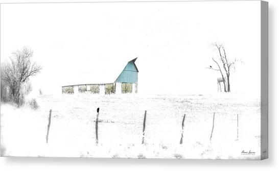 Kansas Blue Barn In Frozen Fog Canvas Print
