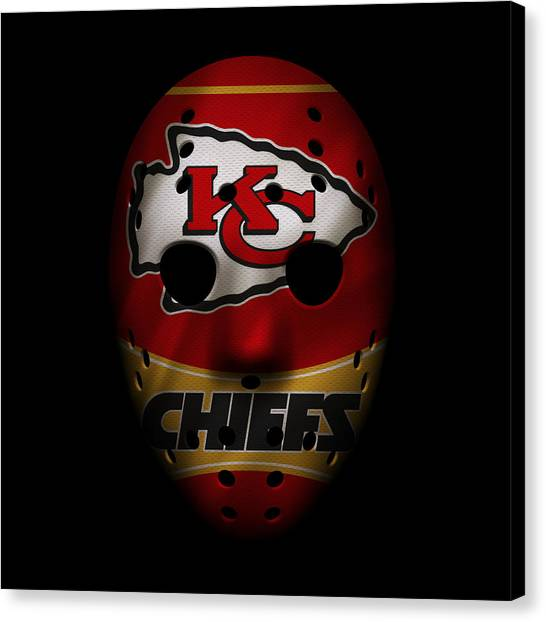 Kansas City Chiefs Canvas Print - Kansas City Chiefs War Mask 2 by Joe Hamilton