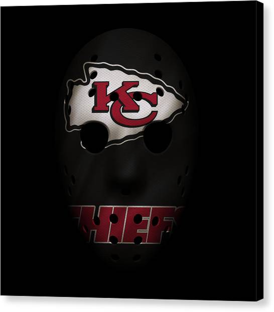 Kansas City Chiefs Canvas Print - Kansas City Chiefs War Mask by Joe Hamilton