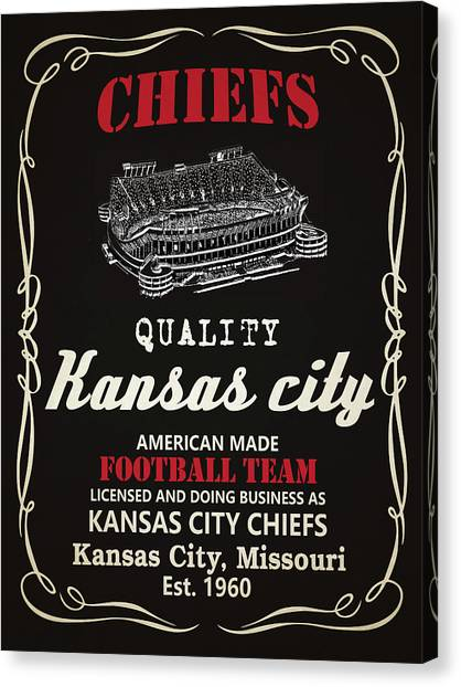 Kansas City Chiefs Canvas Print - Kansas City Chiefs Whiskey by Joe Hamilton