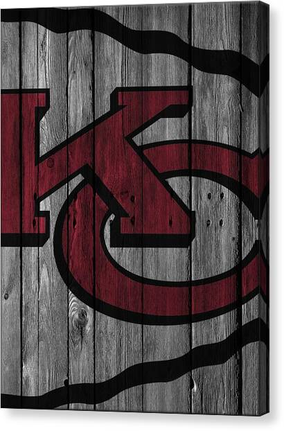 Kansas City Chiefs Canvas Print - Kansas City Chiefs Wood Fence by Joe Hamilton