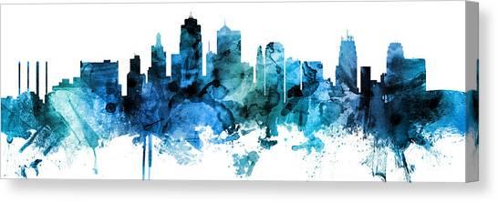 Kansas Canvas Print - Kansas City Missouri Skyline Custom Panoramic by Michael Tompsett