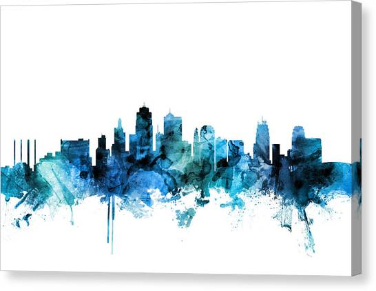 Missouri Canvas Print - Kansas City Missouri Skyline by Michael Tompsett