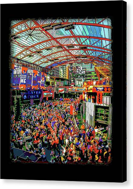 Kansas State University K-state Canvas Print - Kansas City Power And Light Party by Julie Flanagan